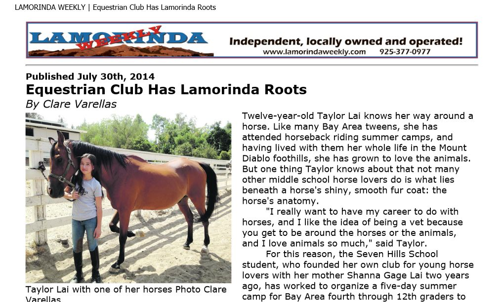 Equestrian Club Has Lamorinda Roots