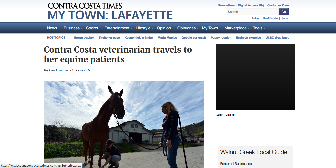 Contra Costa Vet Travels to Her Equine Patients